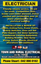 ELECTRICIAN   Friendly reliable service, No job too small, Competitive rates, Senior card holder discount, Police checked and certificated, over 25 years' experience in the electrical industry. INSTALLATION & REPAIR OF: Lights, Ceiling Fans, Power Points, Safety Switches, Oven and Hot Plate Repairs, Hot Water Systems, Commercial Catering Equipment, Building Rewires, New ...