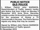 PUBLIC NOTICE QLD POLICE