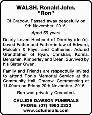 Of Cracow. Passed away peacefully on 9th November, 2015. Aged 69 years Dearly Loved Husband of Dorothy (dec'd). Loved Father and Father-in-law of Edward, Malcolm & Faye, and Catherine. Adored Grandfather of Ryan, Christian, Korina, Benjamin, Kimberley and Dean. Survived by his Sister Gwen. Family and Friends are respectfully invited ...