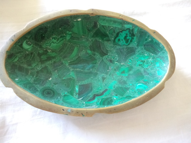 polished stone bowl 1930's brass edged  perfect cond