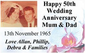 Mum & Dad   13th November 1965   Love Allan, Phillip, Debra & Families