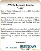 Late of Placid Hills, passed away on 10th November 2015 aged 57 years.   Dearly loved Son of Albert and Audrey (both dec'd). Loved Brother, Brother-in-law, and Uncle of Maria (dec'd), Carmel, Anne, and their families. And best friend to many.   Relatives and friends are respectfully invited to attend ...