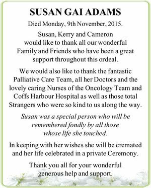 Died Monday, 9th November, 2015.