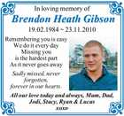 In loving memory of Brendon Heath Gibson 19.02.1984 ~ 23.11.2010 Remembering you is easy We do it every day Missing you is the hardest part As it never goes away Sadly missed, never forgotten, forever in our hearts. All our love today and always, Mum, Dad, Jodi ...