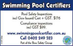 Pool Safety Inspections incl Gov Issued Cert + GST. $176