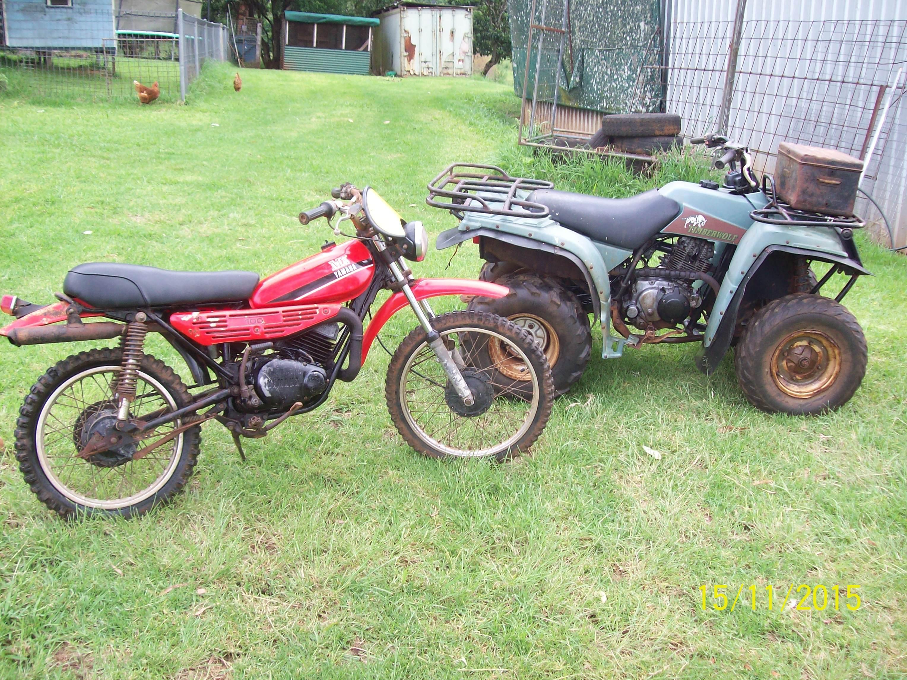 YAMAHA TIMBER WOLF 230 2WD GOOD COND GOES WELL $ 550 YAMAHA MX 100 GOES WELL $ 200