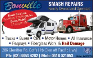 Family Owned and Operated by Maurice & Liz King since 1984   Trucks, Buses, Cars, 4WD's, Motor Homes, Campervans   All Insurance Resprays, Rust Repair, Fibreglass Work & Hail Damage   286 Gleniffer Rd, Bonville NSW, 2450 Coffs Harbour (3km off Pacific Highway)   Ph: (02) 6653 4282 Mob: 0416 021953 Fax: (02) 6653 4667 ...