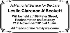 Will be held at 189 Peter Street, Rockhampton on Saturday 21st November 2015 at 10am. All friends of the family welcome