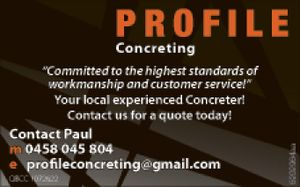 """""""Committed to the highest standards of workmanship and customer service!"""" Your local experienced Concreter!    Contact us for a quote today!"""