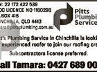 ABN: 22 172 422 539 QBCC LICENCE NO 1180298 P.O.BOX 418 CHINCHILLA, QLD 4413 tamara@pittsplumbing.com.au Subcontractors license preferred. 6203713aa Pitt's Plumbing Service in Chinchilla is looking for experienced roofer to join our roofing crew. Call Tamara: 0427 689 002