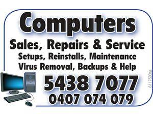 Sales, Repairs & Service Setups    Backups & Help  Virus Removal  Maintenance  Reinstalls   5438 7077 & 0407 074 079