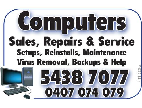Sales, Repairs & Service Setups    Backups & Help  Virus Removal  ...
