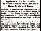 Application For Permission to Erect Fences With Licensed Stock Grids and Gates Notice is hereby given that it is the intention of B.L & L.M Garside & A.J & C.M McDonnell to apply to the Isaac regional council for permission to erect 1 fence with licensed stock grid and ...
