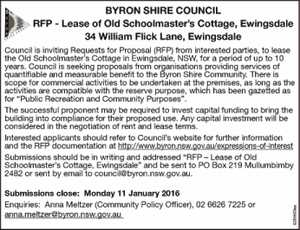 RFP - Lease of Old Schoolmaster's Cottage, Ewingsdale 34 William Flick Lane, Ewingsdale Council is inviting Requests for Proposal (RFP) from interested parties, to lease the Old Schoolmaster's Cottage in Ewingsdale, NSW, for a period of up to 10 years. Council is seeking proposals from organisations providing services of ...