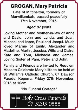 Late of Mitchelton, formerly of Murwillumbah, passed peacefully 17th November, 2015.
