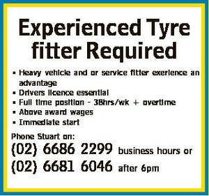 Experienced Tyre fitter Required