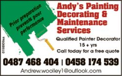 Andy's Painting Decorating & Maintneance Services   Prior preparation prevent poor pe...