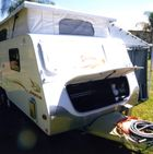 """JAYCO Desteny 06' poptop 17'6"""" dual axle, s/beds, shower/toilet, full annexe, 240/12/gas, a/con, tv/dvd, gas/elec stove, 2x70ltr tanks, solar, $28,000. Gympie, Ph 0409744145"""