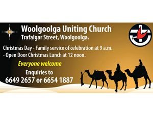 Trafalgar Street, Woolgoolga. Christmas Day - Family service of celebration at 9 a.m. - Open Door Christmas Lunch at 12 noon. Everyone welcome   Enquiries to 6649 2657 or 6654 1887