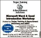 Microsoft Word & Excel Introduction Workshop Solutions and MEGT RTO provider code: 3945 Coming 2 day workshop Thursday 26th & Friday 27th November to $585 inc GST, Lunch, morning tea, Emerald afternoon tea & use of a laptop over the 2 day period Spaces filling fast, call 07 4987 5043 to secure your ...