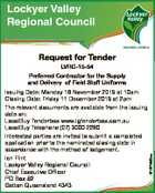 Lockyer Valley Regional Council Request for Tender LVRC-15-54 Issuing Date: Monday 16 November 2015 at 10am Closing Date: Friday 11 December 2015 at 2pm The relevant documents are available from the issuing date on: LocalBuy Tenderbox www.lgtenderbox.com.au LocalBuy Telephone (07) 3000 2280 Interested parties are invited to ...