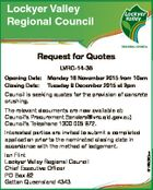 Lockyer Valley Regional Council Request for Quotes LVRC-14-36 Opening Date: Monday 16 November 2015 from 10am Closing Date: Tuesday 8 December 2015 at 2pm Council is seeking quotes for the provision of concrete crushing. The relevant documents are now available at: Council's Procurement (tenders@lvrc.qld.gov.au) Council ...