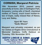"CORNISH, Margaret Patricia 16th November 2015, passed away peacefully at home, late of Darlington Park, Arrawarra. Loving wife of Geoff, cherished mother of Tracey, much loved mother-inlaw of Dayle, sadly missed Nan of Kieran, Lucy and Bailey. Aged 68 Years ""Sadly Missed"" Margaret was privately cremated, as per her wishes ..."
