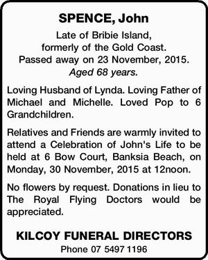 Late of Bribie Island, formerly of the Gold Coast. Passed away on 23 November, 2015. Aged 68 years.