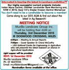 Interested in hearing the latest in Landcare activities?? Our highly successful current projects include: Indian Myna Control, CSGNet Landholder Bore Monitoring and, NEW in 2016, Daryl Hill's Grader Erosion Control Workshop! You don't need to be a Landholder to become a member! Come along to our 2015 AGM ...