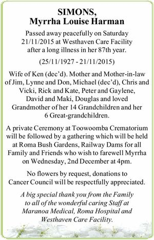 Passed away peacefully on Saturday 21/11/2015 at Westhaven Care Facility after a long illness in her 87th year. (25/11/1927 - 21/11/2015)   Wife of Ken (dec'd). Mother and Mother-in-law of Jim, Lynne and Don, Michael (dec'd), Chris and Vicki, Rick and Kate, Peter and ...