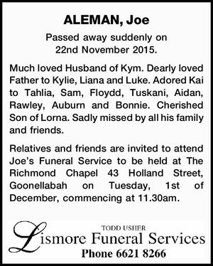 Passed away suddenly on 22nd November 2015.