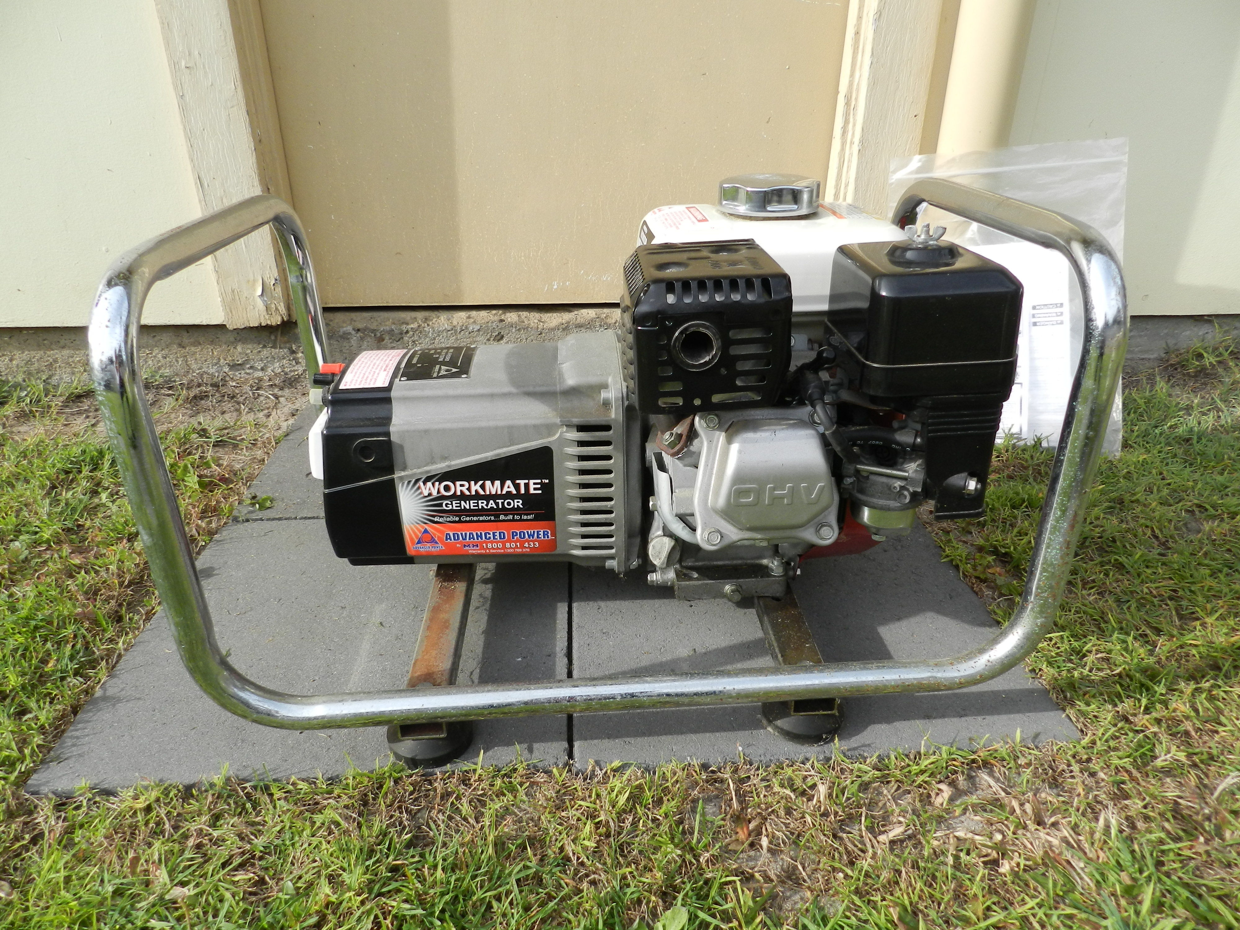 2.5kva Advanced Power Workmate Generator in good condition. Honda Motor. Manuals available. Runs well.