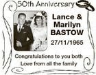Lance & Marilyn BASTOW 27/11/1965 Congratulations to you both Love from all the family
