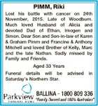 PIMM, Riki Lost his battle with cancer on 24th November, 2015. Late of Woodburn. Much loved Husband of Alicia and devoted Dad of Ethan, Imogen and Simon. Dear Son and Son-in-law of Karen & Graham Pimm and Francine & Anthony Mitchell and loved Brother of Kelly, Marc and the late Nathan. Sadly ...