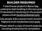 BUILDER REQUIRED 7 townhouse project in Byron bay