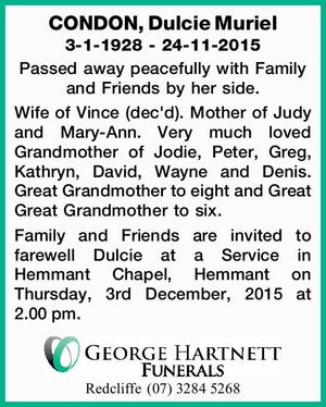 CONDON, Dulcie Muriel