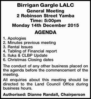 2 Robinson Street Yamba Time: 5:00pm Monday 14th December 2015