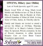 OWENS, Hilary (nee Ohlin) Late of North Ipswich, aged 55 years. Dearly loved Wife of Greg. Much loved Mother and Mother-in-law of Tim & Keira, Rhys & Claudia, Mat & Rachel, & Chris. Adored Grandma of Ethan & Lilah. Loving Sister of Chris, Jackie, & Timothy (dec'd). Family and friends are invited to attend a ...
