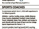Looking for a rewarding part-time career? Fairholme College TOOWOOMBA invites applications for a number of qualified casual part-time SPORTS COACHES To commence early in Term 1, 2016 with experience in the following sports: Athletics - sprints, hurdles, jumps, middle distance; Cross Country; Basketball; Football; Futsal; Netball; Touch; Volleyball; Water Polo, Softball ...