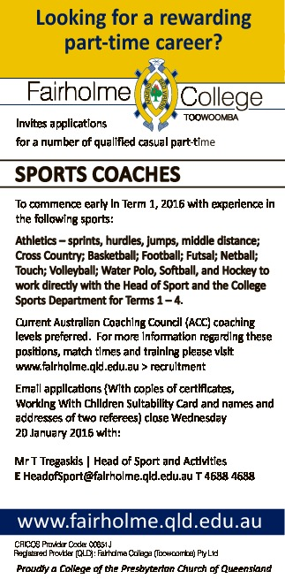 Looking for a rewarding part-time career?   Fairholme College TOOWOOMBA invites applications...