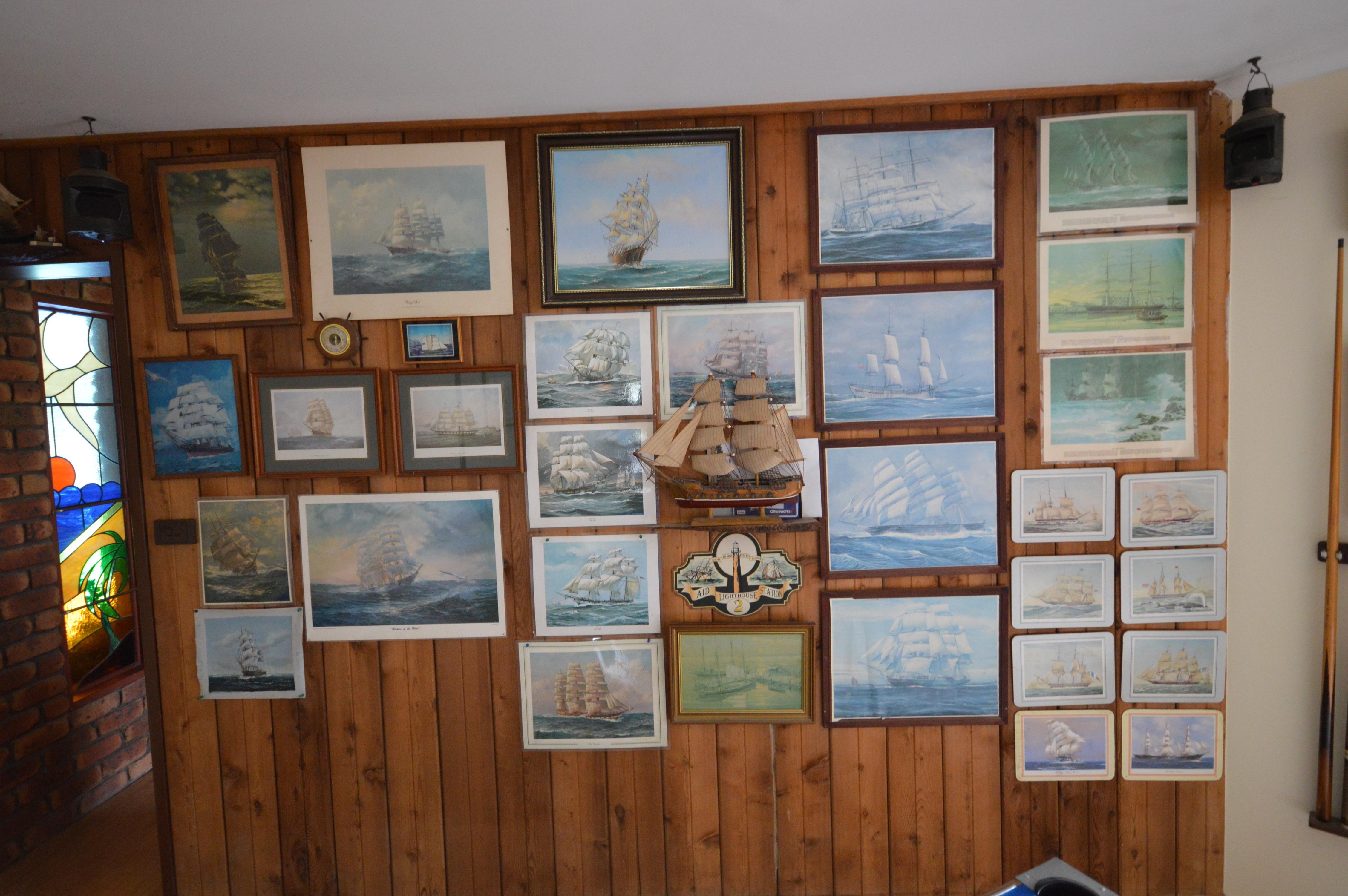 Old sailing ship pictures, models, lights, barometers