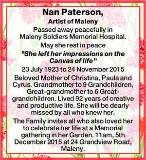 """Artist of Maleny Passed away peacefully in Maleny Soldiers Memorial Hospital. May she rest in peace """"She left her impressions on the Canvas of life"""" 23 July 1923 to 24 November 2015 Beloved Mother of Christina, Paula and Cyrus. Grandmother to 9 Grandchildren, Great-grandmother to 6 Great-grandchildren. Lived 92 years ..."""