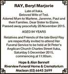 RAY, Beryl Marjorie Late of Iluka. Beloved Wife of Ted. Adored Mum to Marlene, Janenne, Paul and their Families. Dear Sister to Elaine. Passed away peacefully 28 November 2015. AGED 84 YEARS Relatives and Friends of the late Beryl Ray are respectfully invited to attend Her Funeral Service to be ...