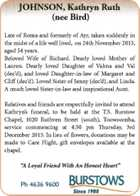 Late of Roma and formerly of Ayr, taken suddenly in the midst of a life well lived, on 24th November 2015, aged 54 years.   Beloved Wife of Richard. Dearly loved Mother of Lauren. Dearly loved Daughter of Valma and Val (dec'd), and loved Daughter-in-law of Margaret and Cliff (dec ...