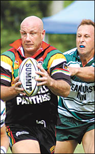 Sawtell Panthers captain-coach, Craig Wallace in action during the Orara Valley Sevens tournament.