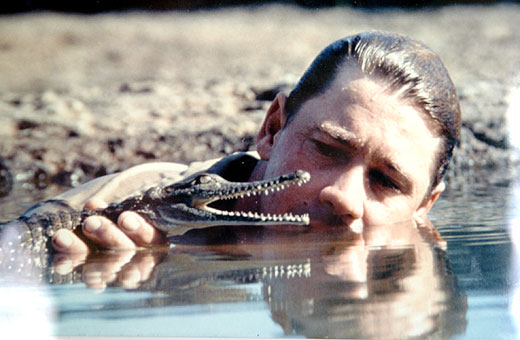 Steve Irwin with a young crocodile.