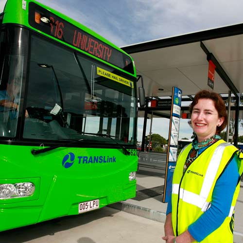 Making Tracks: Queensland transport minister Rachel Nolan visits the Sunshine Coast University's new Greenlink bus interchange. Photo:Barry Leddicoat/183372