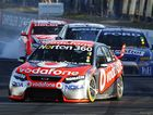 Jamie Whincup leads ahead of Mark Winterbottom and James Courtney.