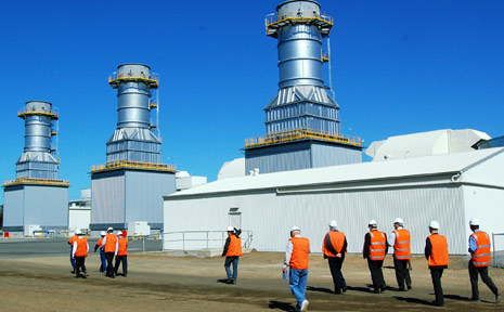 Representatives from government, industry and the local community tour the new Braemar Two power station near Dalby yesterday.