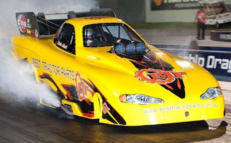 Paul Shackleton's Nitro Funny Car will assault Palmyra's track records tonight.